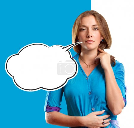 Photo for Woman in blue looking on camera with speech bubble - Royalty Free Image