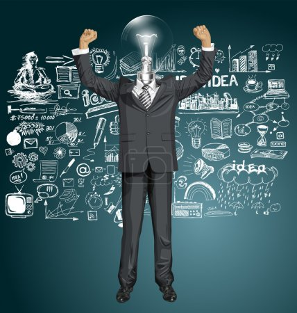 Lamp Head Businessman With Hands Up