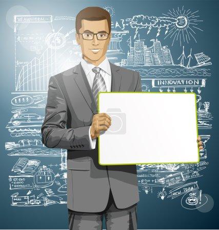 Illustration pour Vector Homme d'affaires tenant le tableau blanc vide dans ses mains - image libre de droit