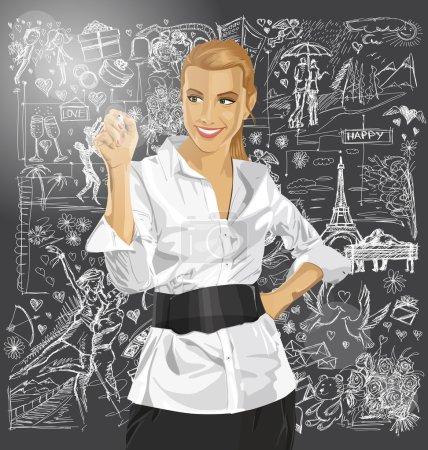 Illustration pour Femme d'affaires écrivant à l'écran sur les éléments de l'histoire d'amour - image libre de droit