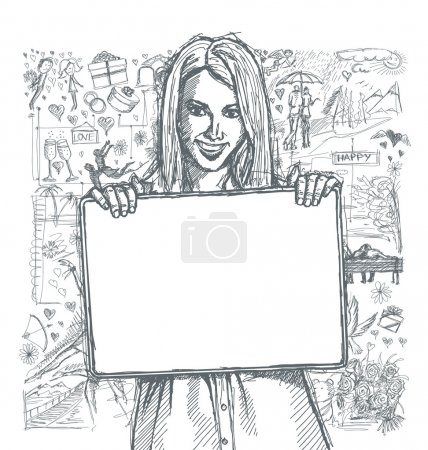 Happy woman with blank card