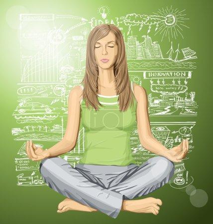 Illustration pour Femme vectorielle méditant dans la pose du lotus en pensant à l'écologie - image libre de droit