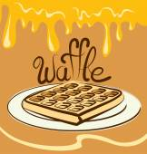Waffle with calligraphic inscription