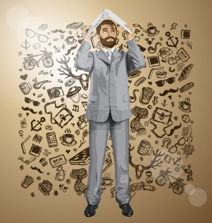 Illustration for Business man with beard hides under the laptop in hands over money sketch - Royalty Free Image