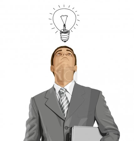 Illustration for Business man looking up with laptop. Idea concept. - Royalty Free Image
