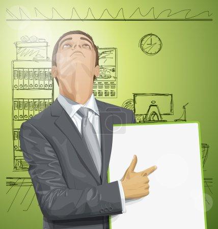 Illustration pour Homme d'affaires tenant tableau blanc et levant les yeux - image libre de droit