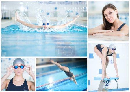 Foto de Collage de imágenes con atractiva nadadora en piscina deportiva. Piscina deportiva cubierta con agua azul . - Imagen libre de derechos