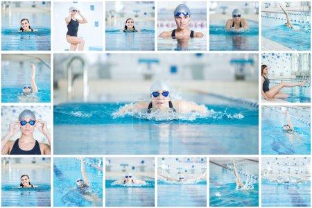 Woman swimmer in sport swimming pool