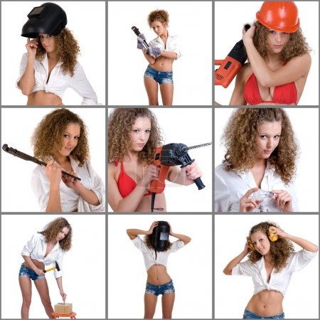Photo for Collage of images with beautiful girl with curly hair with instruments - Royalty Free Image
