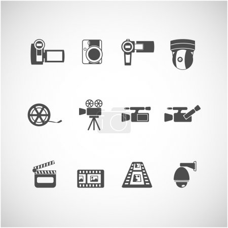 Video camera and cctv icon set, vector eps10
