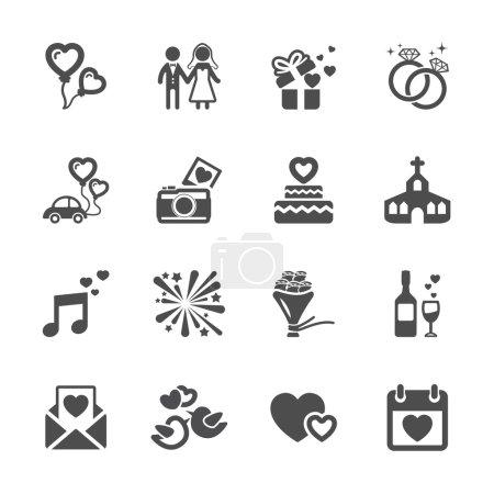 wedding icon set, vector eps10