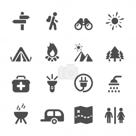 travel and camping icon set, vector eps10