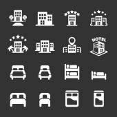 hotel building and bedroom icon set white version vector eps10