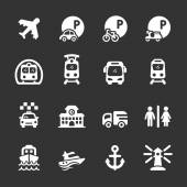 Dopravy a infrastruktury ikona sada, bílá verze, vecto