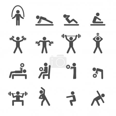 people exercise in fitness icon set, vector eps10