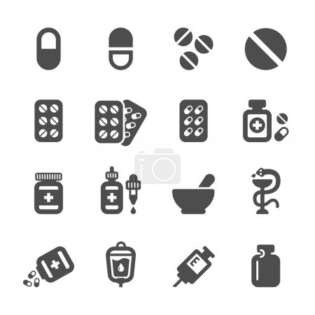 Illustration for Pharmacy and pill icon set, vector eps10. - Royalty Free Image