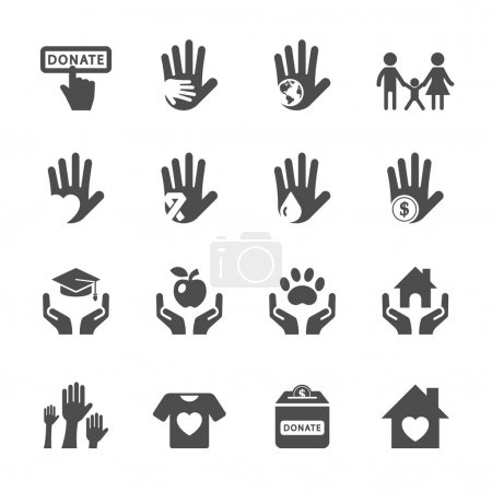 charity and donation icon set, vector eps10