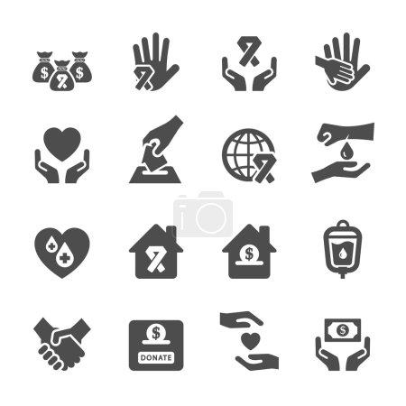 Illustration pour Ensemble d'icônes de charité et de don 6, vecteur eps10 . - image libre de droit