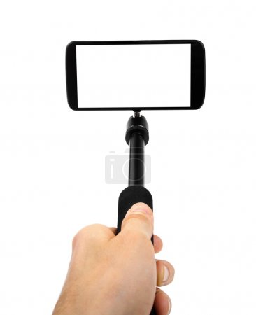 taking selfie - hand hold monopod with mobile phone