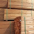 Stack of wooden terrace planks at the lumber yard...