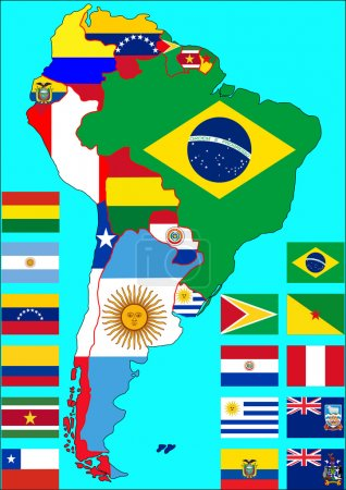 Political map of South America with flags