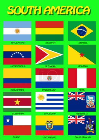South American flags. Vector illustration