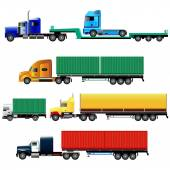 Set of freight trucks side-view vector illustration isolated on white