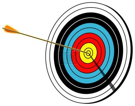 Archery target, bullseye, isolated on white, vector illustration