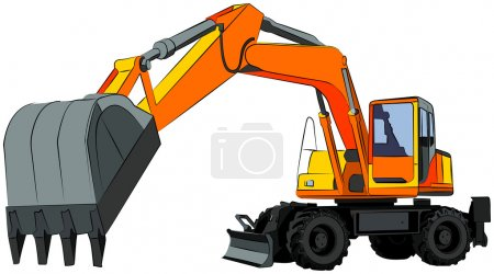 Excavator, isolated on white, vector illustration