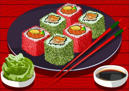 Sushi with caviar and salmon, with soy sauce and wasabi, vector illustration