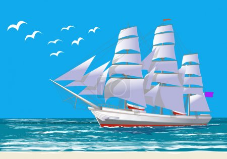 Illustration for Sailing ship, all the objects on separate layers, isolated on white, vector illustration - Royalty Free Image