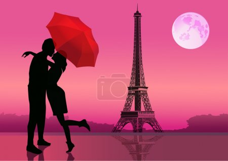 Couple of love in Paris, with the Eiffel Tower and Moon on background