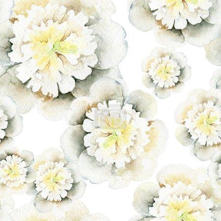 Photo pour Modèle sans couture avec pivoines blanches. Illustration aquarelle - image libre de droit