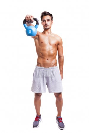 Fitness man exercising his shoulders