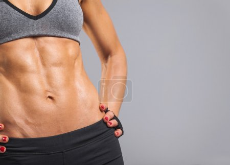 female model with muscular torso