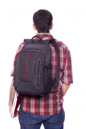 student with backpack and notebooks