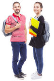 students with backpack and notebooks