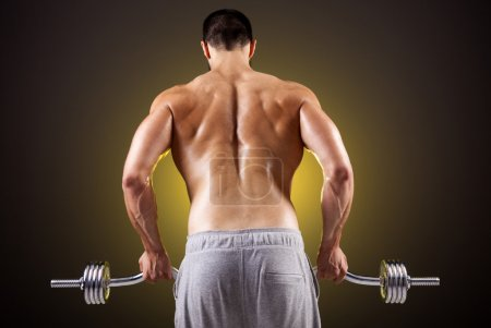 Photo for Rear view of a fitness man lifting weights with curl bar - Royalty Free Image