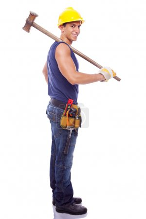 Full body portrait of a smiling worker, isolated on white backgr