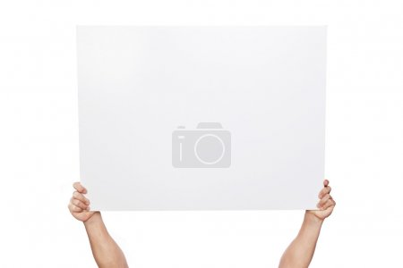 Photo for Hands holding a blank banner, isolated on white - Royalty Free Image