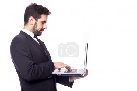 Business man working with a laptop computer