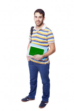 Handsome smiling male student standing
