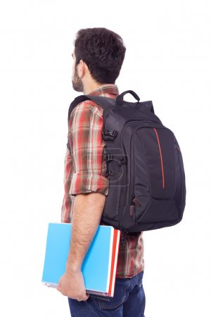 Back view of a male student