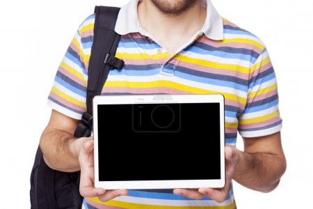 Image of a student holding a tablet computer