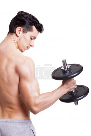 Fitness man lifting weights