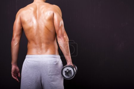 Back view of fit man holding a dumbbell