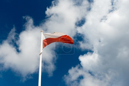 Flag of Poland on sky background
