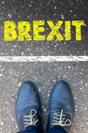 Man legs with word Brexit
