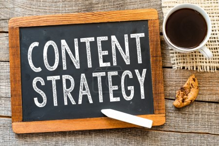 Content strategy  handwritten with white chalk