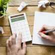Hands with Calculator, notepad, pen and green plant on wooden background